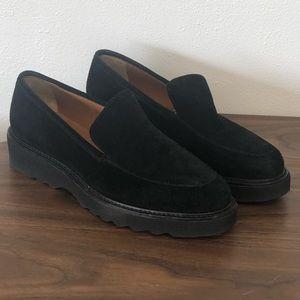 Aquatalia Black Kelsey suede platform Loafers